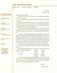 The Cincinnati Eruv (Cincinnati, OH) - Letter of Solicitation, 1988