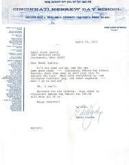 Cincinnati Hebrew Day School (Cincinnati, OH) - Letter re: Raffle Tickets, 1973