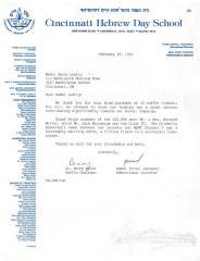 Cincinnati Hebrew Day School (Cincinnati, OH) - Letter re: Raffle Tickets Purchased for Annual Campaign, 1986
