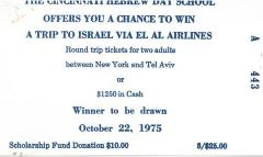Cincinnati Hebrew Day Schools (Cincinnati, OH) - Raffle tickets (nos. 443-454), 1973