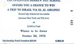 Cincinnati Hebrew Day Schools (Cincinnati, OH) - Raffle tickets (nos. 443-454), 1973