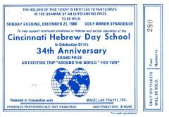 Raffle tickets (no. 280-284) for 34th Anniversary Drawing for Cincinnati Hebrew Day School (Cincinnati, OH), 1980