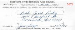 Cincinnati National Jewish Fund (Cincinnati, OH) - Contribution Receipt (no. 5073), 1970