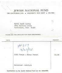 Cincinnati Jewish National Fund - Statement re: Pledge Fee, 1969
