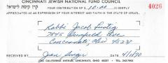 Cincinnati National Jewish Fund (Cincinnati, OH) - Contribution Receipt (no. 4026), 1970