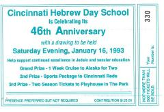 Cincinnati Hebrew Day School (Cincinnati, OH) - Raffle Tickets for 46th Anniversary Drawing
