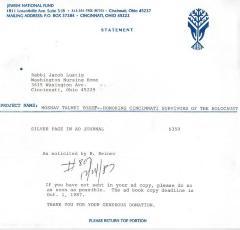 Cincinnati National Jewish Fund (Cincinnati, OH) - Statement re: Silver Page in Ad Journal, 1987