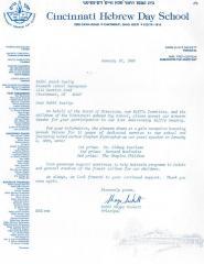 Cincinnati Hebrew Day School (Cincinnati, OH) - Letter re: Participation in 41st Anniversary Drawing, 1988