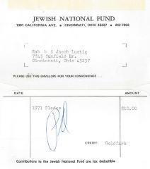Cincinnati National Jewish Fund (Cincinnati, OH) - Envelope containing Pledge Fee, 1971