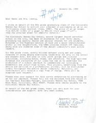 Cincinnati Hebrew Day School (Cincinnati, OH) - Letter of Solicitation, 1990