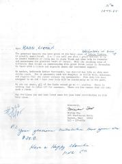 Daughters of Zion (Cincinnati, OH) - Letter of Solicitation, 1984