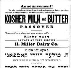 H. Miller Dairy Company Ad Regarding Rabbi Eliezer Silver Appointing them as 1933 Pesach / Passover Dairy Distributor for Cincinnati, Ohio