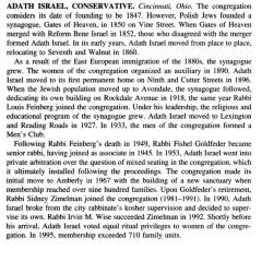 History of Adath Israel Congregation (Cincinnati, Ohio) from the The American Synagogue: A Historical Dictionary and Sourcebook