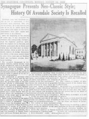 Article Regarding Importance of Adath Israel Congregation's Avondale Synagogue Building - 1929