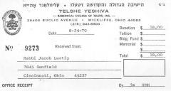 Telshe (Ohio) Yeshiva - Contribution Receipts for the Years 1970 - 1995