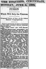 Article Regarding Proposed Merger Between Adath Israel Congregation and Beth Hamedrah Hagadol (Cincinnati, Ohio) - 1892