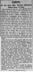 Article Regarding Death of Mrs. Miriam Benjamin in 1905, Prominent Member of Adath Israel Congregation (Cincinnati, Ohio)