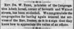 Information about Rabbi Rev. Dr. W. Berg of Adath Israel Congregation (Cincinnati, Ohio)  - 1873