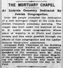 Article Regarding Dedication of Adath Israel Congregation Cemetery Chapel - 1909