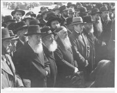 Photo of Rabbis Listening to Rabbi Eliezer Silver Read to Vice President of the United States Wallace the Petition Beseeching the United States to Deliver European Jews From Extermination by the Nazis. October 6, 1943