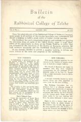 Bulletin of the Rabbinical College of Telshe, Vol I - Issue 1 - Telshe Yeshiva (Cleveland, Ohio)