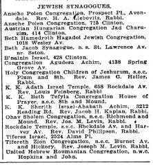 Listing of Cincinnati Synagogues from 1925 Edition of Williams' Cincinnati City Directory