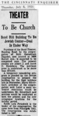 Article on Beth Hamedrash Hagodol Congregation (Cincinnati, Ohio) Purchasing & Dedicating Bond Hill Theater for new Synagogue in 1954 - 1955