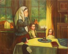 Painting of Jewish Mother saying Blessings over Shabbat Candles