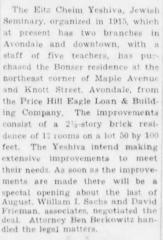 Articles Regarding New Building for Yeshiva Etz Chaim, Cincinnati, Ohio - 1933