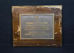 Hunts Point New York Zionist Organization of America 1949 Plaque in honor of Frank Perlman