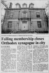 Article Regarding the Closing of North Avondale Synagogue (Cincinnati, Ohio) in 1998