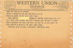 Telegrams Sent to Rabbi Eliezer Silver on his 80th Birthday, 1961