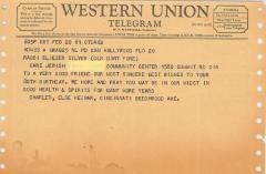 Telegrams Sent to Rabbi Eliezer Silver on his 80th Birthday, 1961