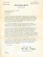 Letter from Senator William B. Saxbe to Mr. Nathan Silver in 1971 regarding his Support for the State of Israel