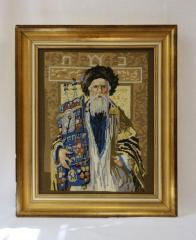 Portrait of a Rabbi Holding a Torah, in Needlepoint