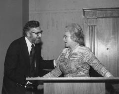 Photograph of Gerald F. Wilks and Mrs. Arthur Beerman at the Arthur Beerman Center Dedication Ceremony, 1974