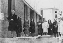 Photograph of Mrs. Beerman after placing the Cornerstone, 1973