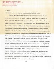 Letter re: Dedication Program of Miami Hillel Beerman Center