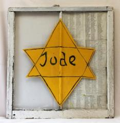 Painted Window Depicting a Jewish Identification Badge, displaying the names of Holocaust Survivors