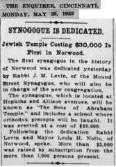 Article regarding 1922 Dedication of Norwood Synagogue Building (Cincinnati, Ohio)