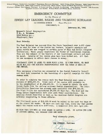 Letter from the Emergency Committee for the Rescue of Jewish Lay Leaders, Rabbis and Taludic Scholars Seeking Funds from the Cincinnati Jewish community for 50 Jews to be Rescued from Japan