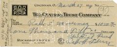 Check for $1,050 to Rabbi Wasserman from Rabbi Eliezer Silver, 1941