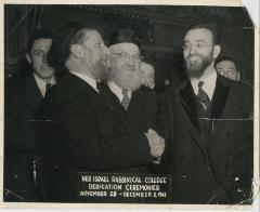 Photograph of Rabbi Silver alongside other Rabbis at the Ner Israel Rabbinical College Dedication Ceremonies, 1943