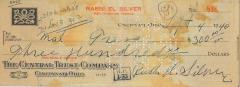 Check for $300 from Rabbi Eliezer Silver, 1940