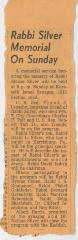Letter from an unknown sender with a newspaper clipping of an article on Rabbi Silver's memorial