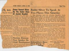 Newspaper clipping announcing two speeches from Rabbi E. Silver, 1960