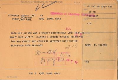 Telegram from Rabbi Eliezer Silver & his wife to Robert Taft Jr.