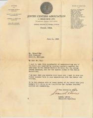 Letter of Congratulations from the Jewish Centers Associate to Edward Kay, 1930
