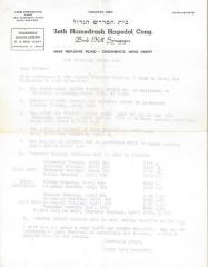 Annoucement Concerning Passover from Beth Hamedrash Hagadol Congregation, 1969