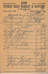 Receipt for Chevrah Shaas from Avon Kosher Meat Market and Grocery for the amount of $15.43, 1938